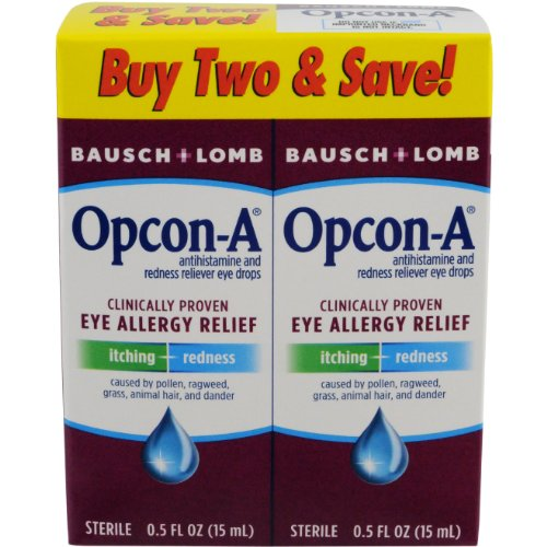 Artificial Tears Ophthalmic Solution - Opcon-A Eye Drops 15 ml, 2 Count