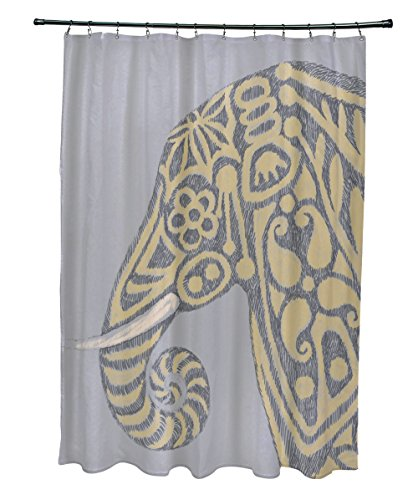 E By Design SCAN378GY3YE4 Inky Animal Print Shower Curtain, 71'' x 74'', Gray by E by design