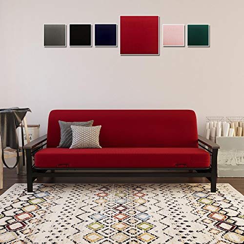 DHP Futon Cover, Removable & Machine Washable Slipcover for Full Size Futon Mattresses, Furniture Protector, Red