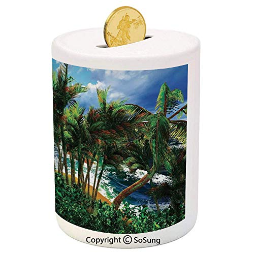 Hawaiian Decorations Ceramic Piggy Bank,Hawaii Island Palm Trees Forest Greenery Cloudy Summer Sky Sunlight Seascape 3D Printed Ceramic Coin Bank Money Box for Kids & Adults,
