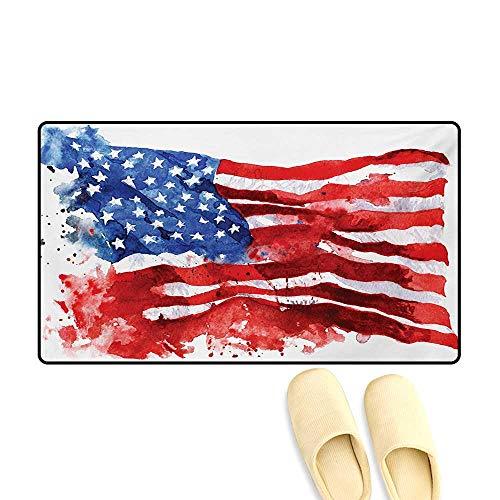 (Door-mat,National Paint Brush Watercolor Digital Stroke Messy Graffiti Art Design Print,Bathroom Mat for Tub Non Slip,Red Blue,20