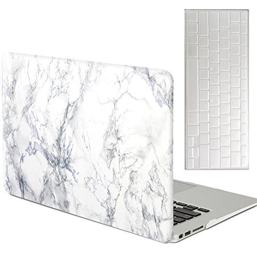 Rinbers for Apple MacBook Air 11 11.6 Inch Hard Case Print Frosted - White Marble Design Rubber Coated Hard Shell Case Cover with Free CLEAR Keyboard Cover Skin - Model: A1370/A1465