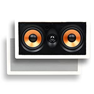 """Micca M-CS Dual 5.25 Inch 2-Way MTM In-Wall Speaker with Pivoting 1"""" Silk Dome Tweeter (Each, White)"""