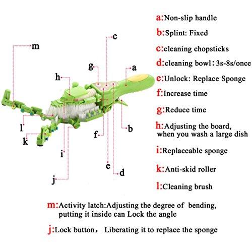 Makaor Handheld Automatic Dish Scrubber Brush Antibacterial Kitchen Dishwasher Brush Kitchen Cleaning Tool Automatic Dish Scrubber Brush (Green, Size:41.8cm x 11.5cm x 7cm) by Makaor (Image #8)