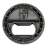 Cheap Spartan Warrior Thin Blue Line Challenge Coin Bottle Opener