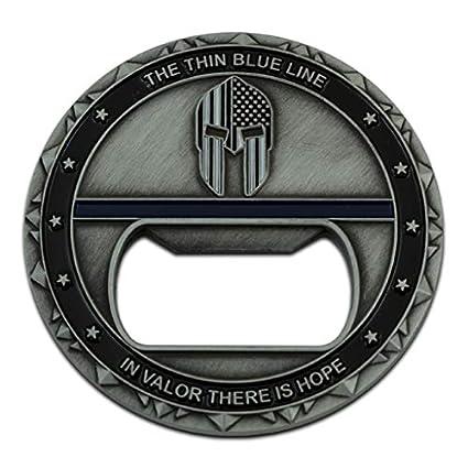 Spartan Warrior Thin Blue Line Challenge Coin Bottle Opener