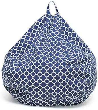 dzzdd Printed Blue Bean Bag Chair Sofa Cover Chair for Room Without Filler Chaise Bedroom Lazy Bag Chair Sofa Bean Bag Chair Kids