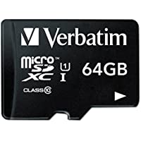 Verbatim 64GB Premium microSDXC Memory Card with Adapter, UHS-I Class 10 - 44084