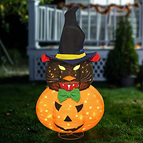 Halloween Witch Decorations Cat and Pumpkin, Jack O' Lantern Collapsible Halloween Yard Decor, Pre-Light up Yard Decoration with Battery Case for Indoor and Outdoor Holiday Party Garden Patio Lawn
