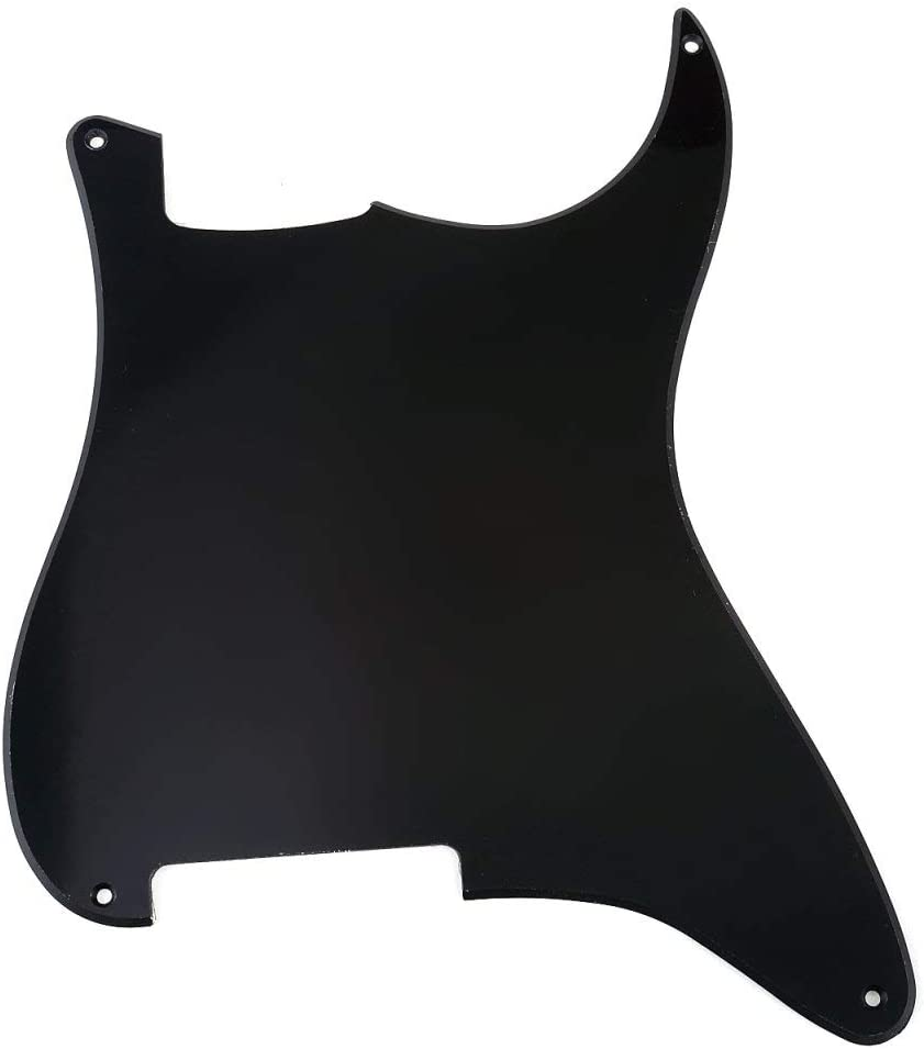 Pearl Black Musiclily 4Ply Guitar ST Outline Pickgurd Blank Scratch Plate Pick Guards for Fender Stratocaster Strat Electric Guitar Replacement