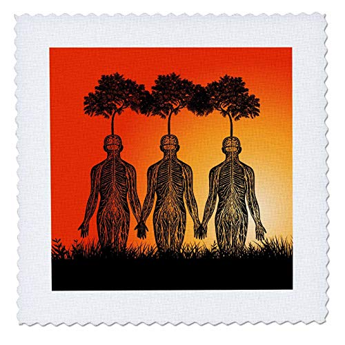 3dRose Russ Billington Designs - Surreal Plant Nursery Design with Parasitic Trees Growing on Humans - 6x6 inch Quilt Square (qs_294385_2) ()