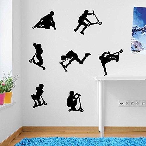 Kids Stunt-Scooter, jumps, sprünge, Tricks, Wand-Dekoration Aufkleber Wandtattoo Wandsticker Wandbild Wandsticker Aufkleber Wandtattoo Wandsticker Wandbild Décor Deco Abnehmbare Diy Wandsticker bunte Aufkleber, Vinyl, 17 - Black, Large Set