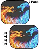 MSD Car Sun Shade Protector Side Window Block Damaging UV Rays Sunlight Heat for All Vehicles, 2 Pack Image 10549211 llec Abstract Blue and red Fiery Dragons Illustration on Black backgroun