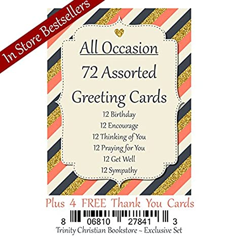 72 count christian religious greeting card assortment w scripture ds only - Christian Greeting Cards