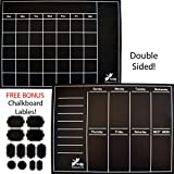 Firefly Craft Dual-Sided Magnetic Chalkboard Calendar, Monthly and Weekly