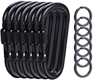 6 Pieces Upgraded Black Locking Carabiners, 3.1 Inch D-Ring Keychain Clips for Outdoor, Camping, Hiking, Fishi