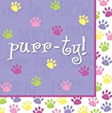 Creative Converting Purr-Ty Time Luncheon Napkin, Purr-Ty Design, 18-Count