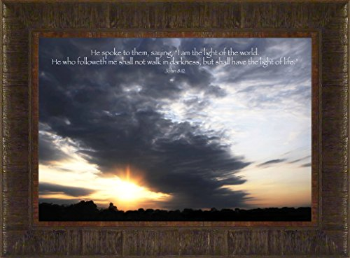 Light of Life By Todd Thunstedt 17.5x23.5 Inspirational Religious Bible Verse Sunset Clouds Quote Saying Jesus Testament Old New Psalm Framed Art Print Wall Décor Picture