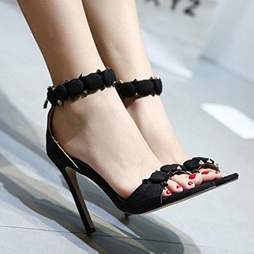 casuales Negro para Fiesta Sandalias Tacón Zapatos para Remache mujer Hebilla Sandalias Toe Jamicy Verano Peep Boda alto mujer fSxqfZwT