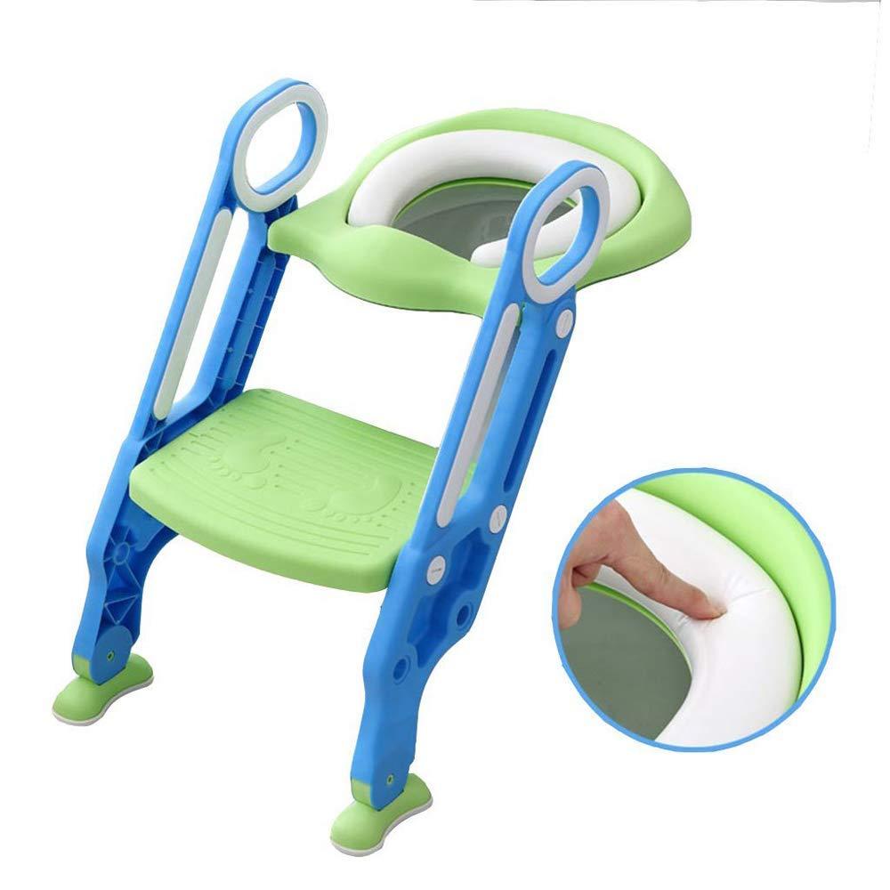Sinbide Toilettentensitz kinder Toiletten-Trainingssitz Gr/ün WC-Trainer T/öpfchen-Sitz mit Doppelseitige Armlehnen f/ür Kinder von 1-7 Jahren