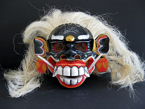 (Demon Mask Demon Statue Wood Carved Bali Skull Mask - Collector's Item- OMA® BRAND)