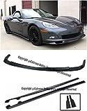 #9: ZR1 Style ABS Plastic Unpainted Black Front Bumper Lower Lip Splitter With Side Skirts Rocker Panels For 05-13 Chevrolet Corvette C6 Base 05 06 07 08 09 10 11 12 13