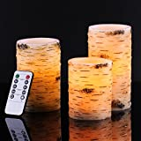 "Bingolife Real Wax Birch Bark Effect Flameless LED Candles 4"" 5"" 6"" with Remote Control & Timer (Iovry,set of 3)"