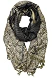 Achillea Luxurious Big Paisley Jacquard Layered Woven Pashmina Shawl Wrap Scarf Stole (Black)