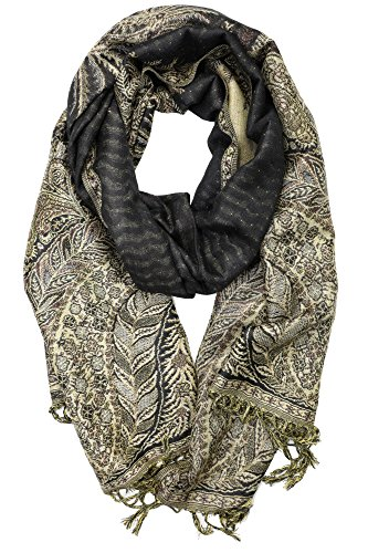 (Achillea Soft Silky Reversible Paisley Pashmina Shawl Wrap Scarf w/Fringes 80