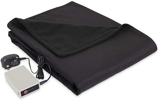 Serta Microfleece Battery Electric Heated Warming Throw Blanket Black