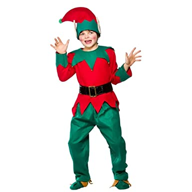 (S) Kids Deluxe Elf Suit Childrenu0027s Childs Elf Costumes | Boys u0026 Girls Christmas  sc 1 st  Amazon UK : boys elf costumes  - Germanpascual.Com