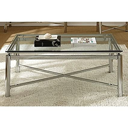 Amazon.com: Living Room Silver Chrome and Glass Coffee Table: Kitchen &  Dining