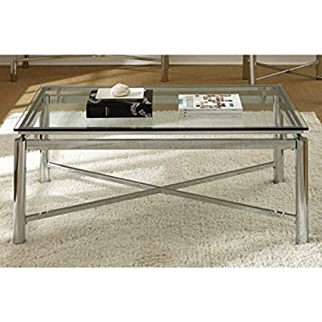 Living Room Silver Chrome And Glass Coffee Table