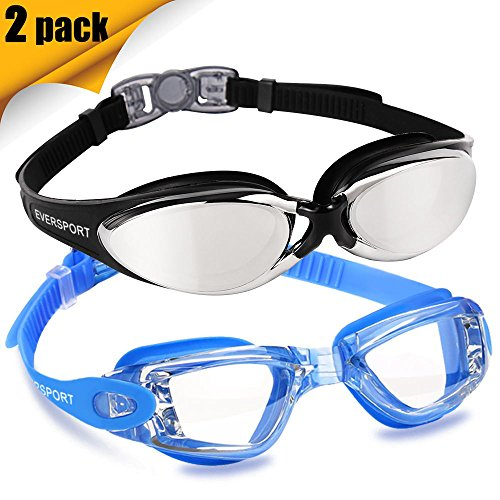 EVERSPORT Swim Goggles 2 Pack, Blue& Pro Mirrored Black, Swimming Glasses for Adult Men Women Youth Kids Child, Anti-Fog, UV Protection, Shatter-Proof, Watertight