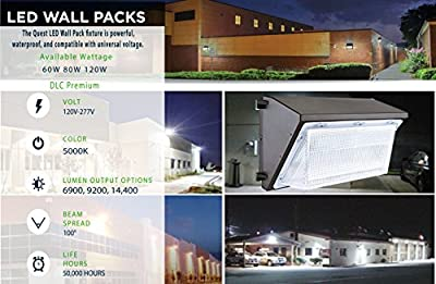 LED Wall Pack Light Commercial Grade Weatherproof Dimmable Outdoor Perimeter Security Lighting Fixture; DLC Premium; Daylight 5000K; 5 Year Warranty