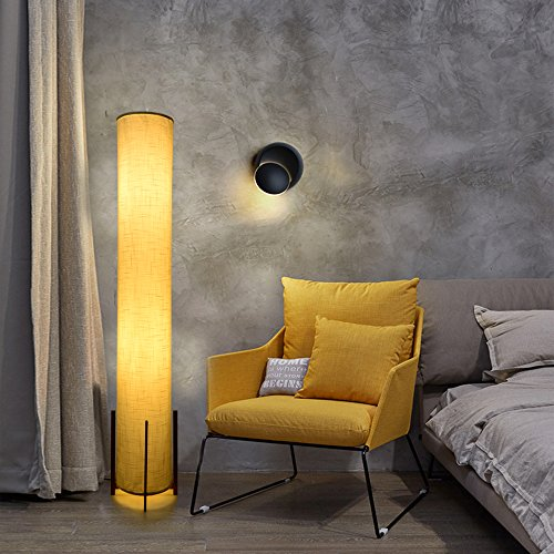 HOOOM Floor Lamp 52'' Led Modern Design Wood Base with Double Soft Diffused Linen Fabric Shade, Tall Unique Bedroom Standing Floor Lamp for Living or Family Room, Office, Placed In a Corner Space Saver by HOOOM Floor Lamp (Image #2)