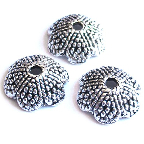 Heather's 62 Pieces Silver Tone Petal Beads Caps Findings Fit 12-14mm Round Beads Jewelry Making 13mmX5mm