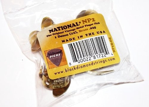 National NP2B 12 Pack Vintage Brass Finger Pick; Banjo,  Dobro, Steel, Guitar, VWWS USA