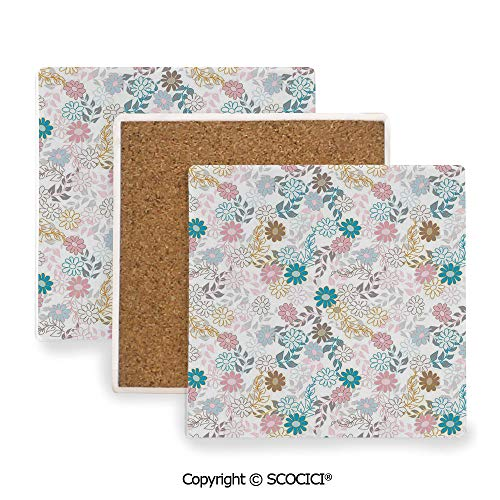 - Ceramic coaster With wood Bottom Protection, For Mugs, Wine Glasses, Protects Furniture Square,Floral,Cute Pastel Daisies and Leaves Blooming Retro Style,3.9