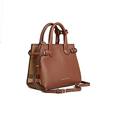 Tote Bag Handbag Authentic Burberry The Baby Banner in Leather and House  Check Ink Tan Item a7b6a219df797
