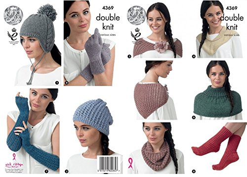 (King Cole Baby Alpaca DK Knitting Pattern Womens Winter Accessories - Hats Scarf Shawl Gloves (4369))