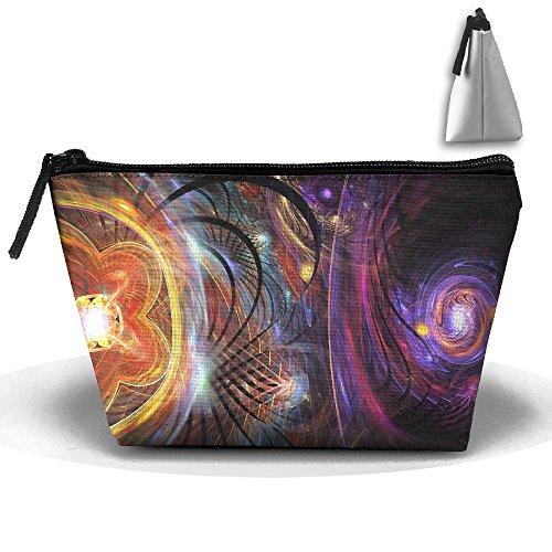 Trapezoidal Bag Makeup Bag Trippy Swirls Storage Portable Travel Wash Tote Zipper Wallet Handbag Carry Case