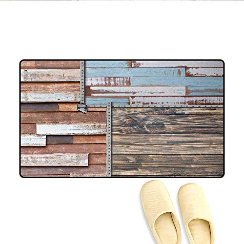 Screws Plymouth (Door Mats,Modern and Farm Themed Old Wooden Detailed Modern Design with Screws Artwork,Bath Mat Non Slip,Brown and Blue,Size:16