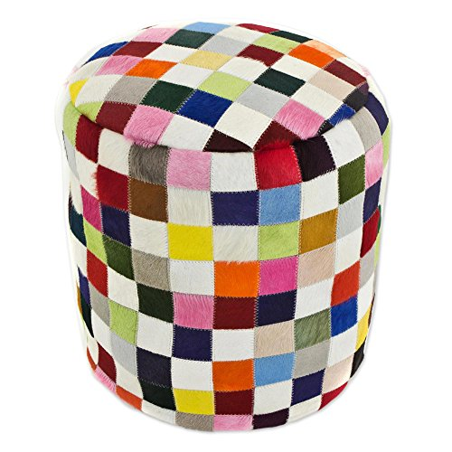 NOVICA Bohemian Leather Ottoman Covers, 'Carnaval Chess' by NOVICA