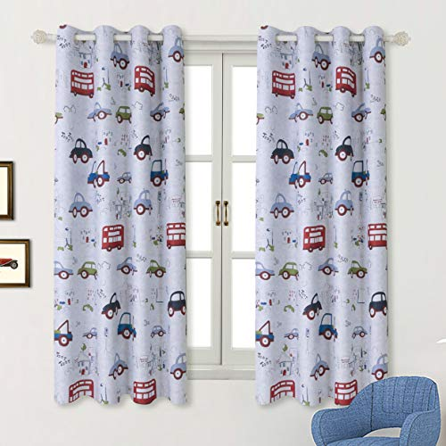 (BGment Kids Blackout Curtains - Grommet Thermal Insulated Room Darkening Printed Car Bus Patterns Nursery and Kids Bedroom Curtains, Set of 2 Curtain Panels (52 x 63 Inch, Greyish White))