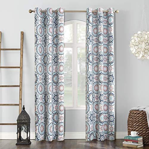 Sun Zero Nepal Global Medallion Print Blackout Grommet Curtain Panel, Stone, 40