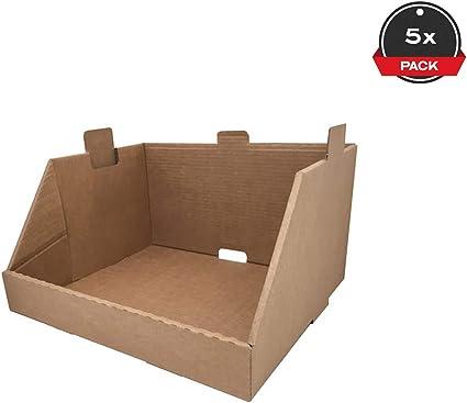 Cajeando | Pack de 20 Cajas de Cartón Expositor Apilable | Tamaño 43,7 x 38,5 x 24,5 cm | Canal Simple y Color Marrón | Almacenaje y Embalaje | Estantería Cocina o