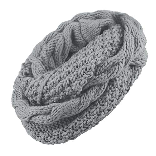 Janey&Rubbins Women Fall Winter Solid Thick Ribbed Cable Knit Muffler Infinity Circle Loop Scarf (Grey)