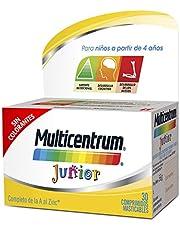 Multicentrum Junior Complemento Alimenticio con 12 Vitaminas y 4 Minerales, Con Vitamina B1, Vitamina B6, Vitamina B12, Hierro, Vitamina C, 30 Comprimidos Masticables Sabor a Fruta