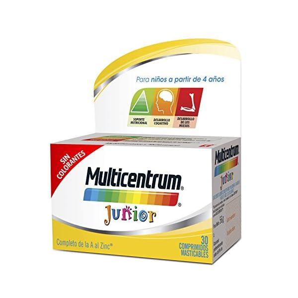Multicentrum Junior Complemento Alimenticio con 12 Vitaminas y 4 Minerales, Con Vitamina B1, Vitamina B6, Vitamina B12, Hierro, Vitamina C, 20 Comprimidos Masticables Sabor a Fruta 1